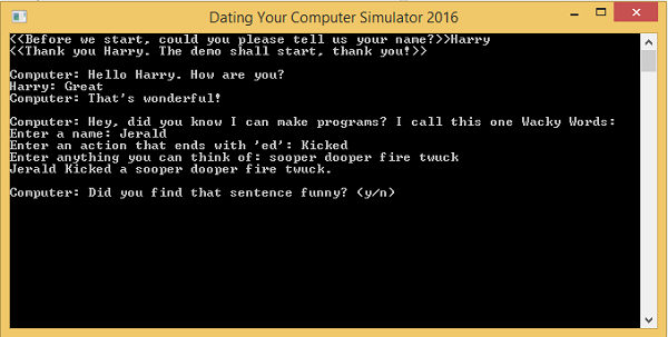 Dating Your Computer Simulator 2016